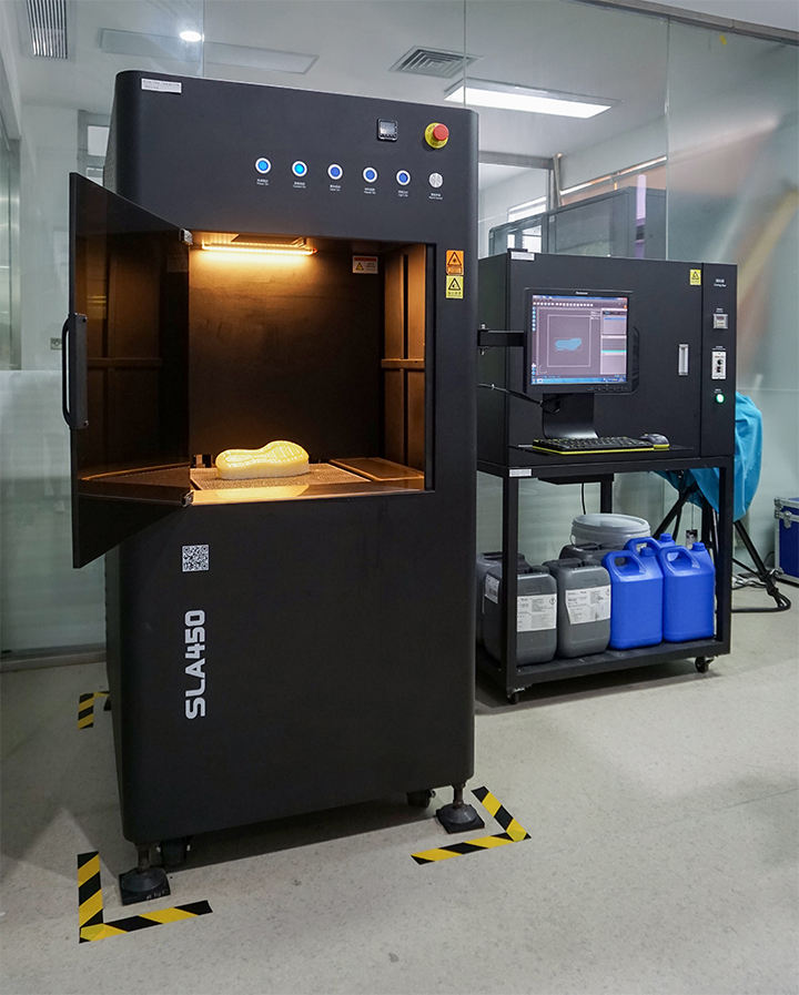QIAODAN's in-house ProtoFab SLA450 3D Printer with UV furnace